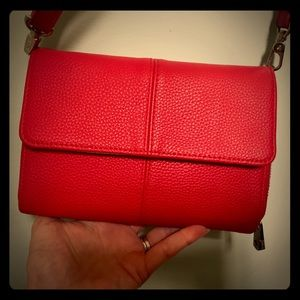 Thirty one red pebble leatherette cross bag